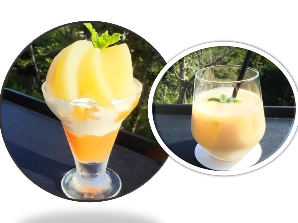 桃パフェ桃ジュース1